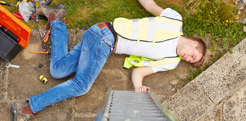 clogged gutters ladder falls